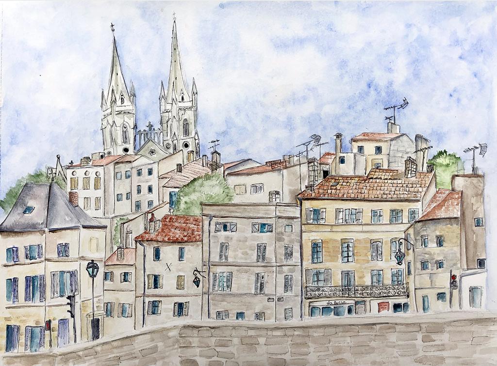 Colline Saint-André de Niort faite à l'aquarelle par Naty lors de son passage dans la ville