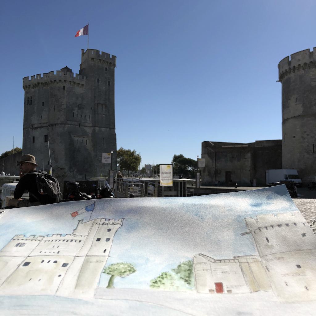 Vieux port de La Rochelle à l'aquarelle