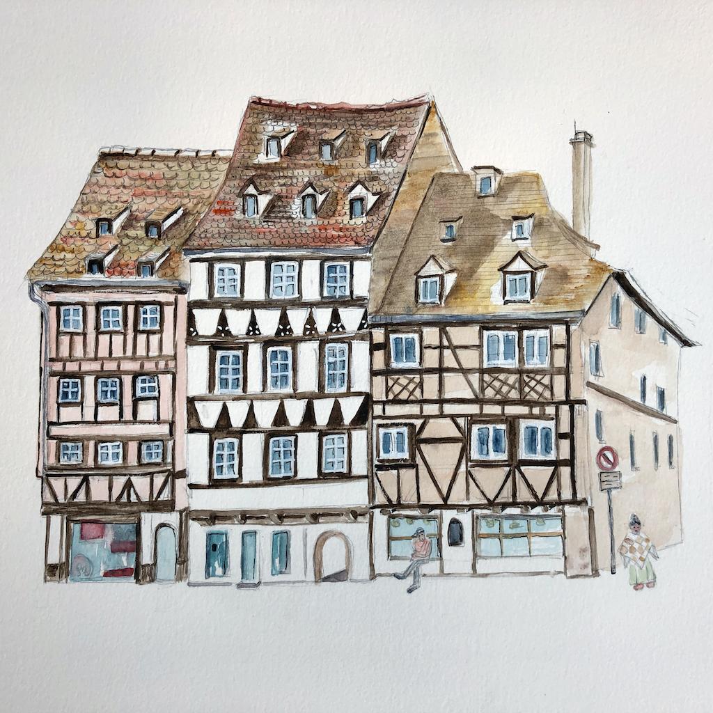 Facades du Quai des Bateliers à Strasbourg