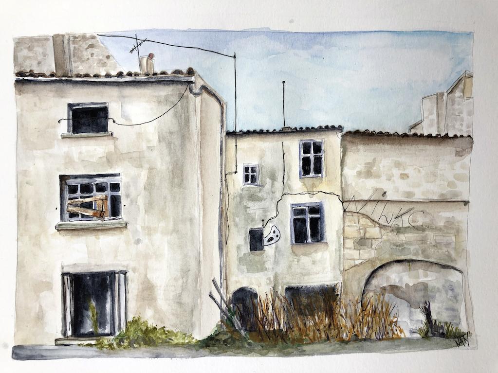 Aquarelle d'une petite rue de Niort
