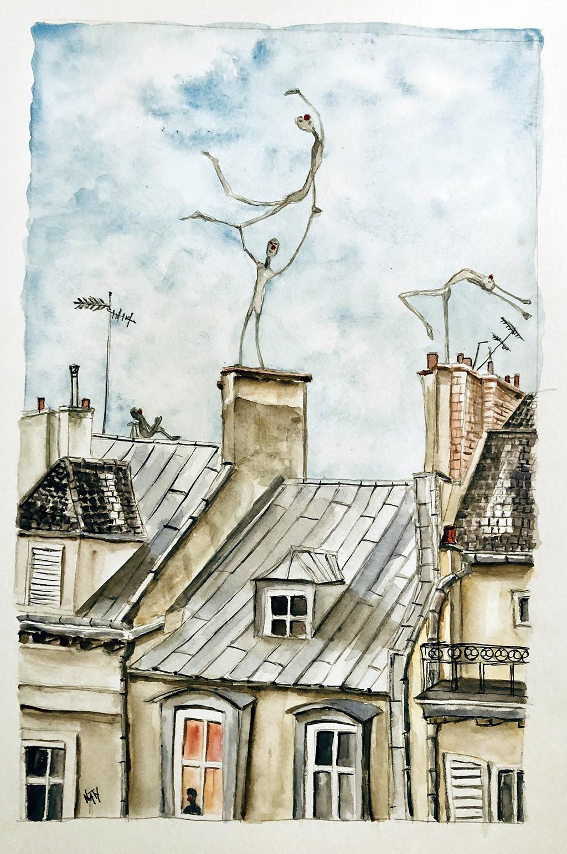 Les funambules sur les toits de Paris.