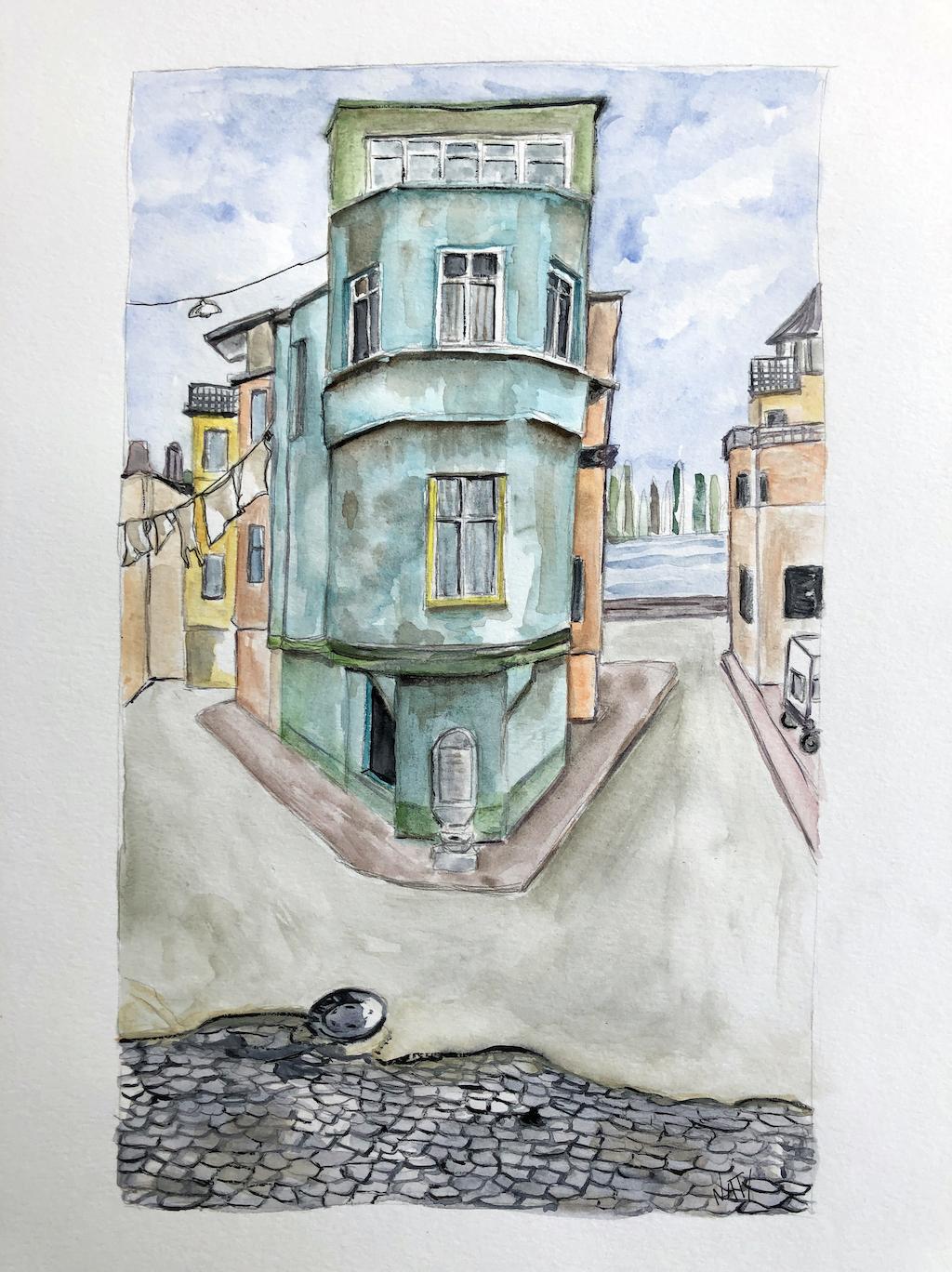 Aquarelle d'une façade bleue