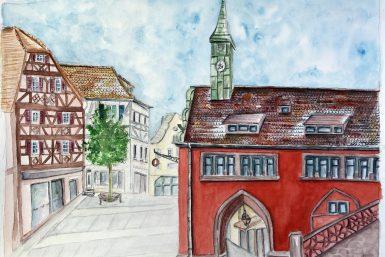 Altes Rathaus de Lahr/Schwarzwald à l'aquarelle
