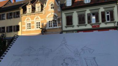 Façade d'un commerce de Gengenbach en Allemagne à l'aquarelle