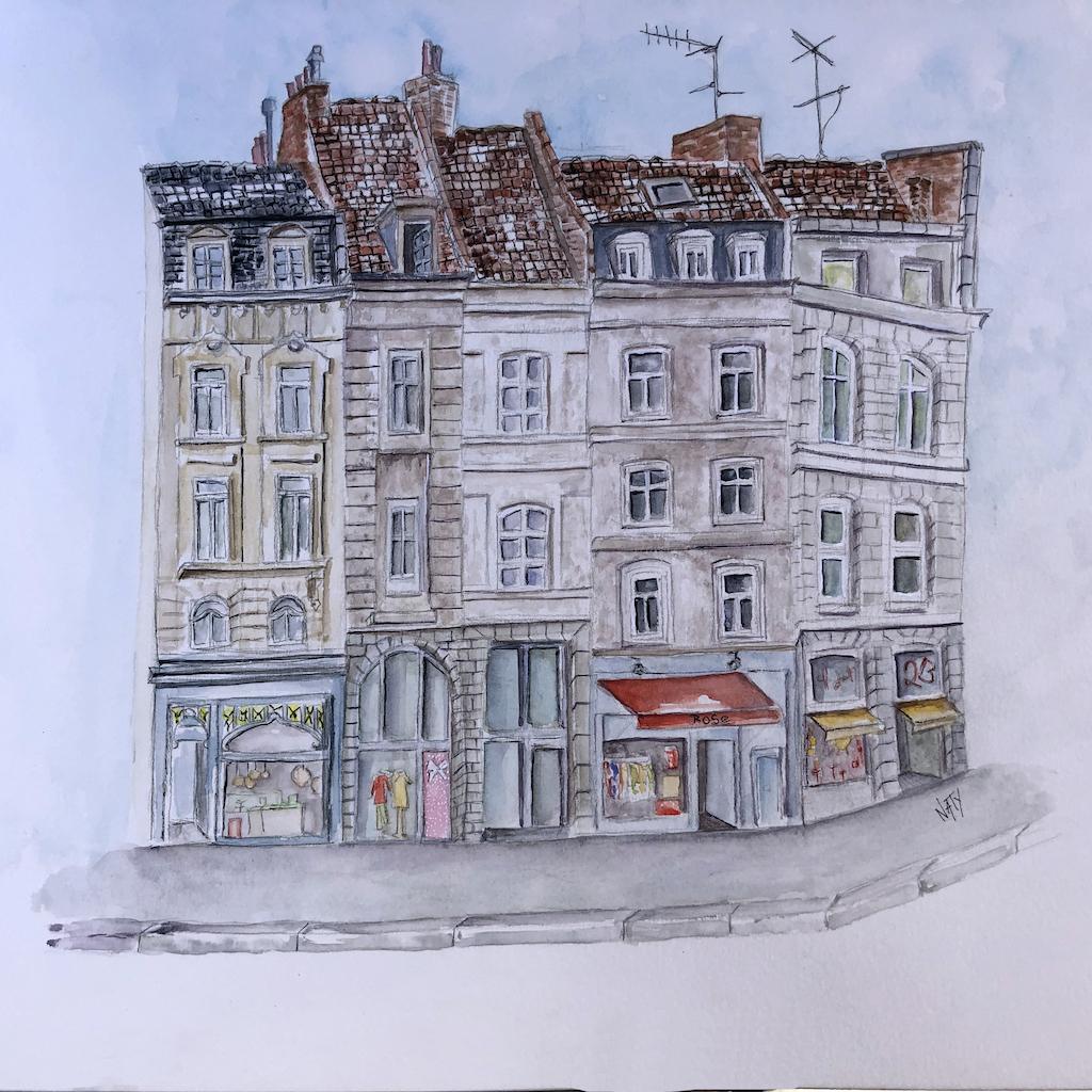 Facade Du Vieux Lille A L Aquarelle Naty Journal D Une Apprentie Artiste