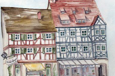Restaurant de Gengenbach en Allemagne à l'aquarelle