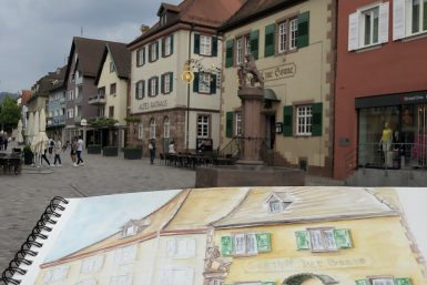 "L'Hôtel ""Gasthof zur Sonne"" à Oberkirch à l'aquarelle"